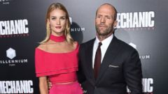 Engaged Couple Rosie Huntington-Whiteley and Jason Statham Hit the Carpet