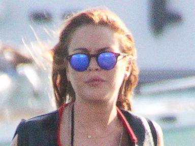 Lindsay Lohan Jetskis in a Black String Bikini