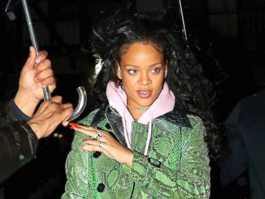 Rihanna Stays Dry in a Textured Trench