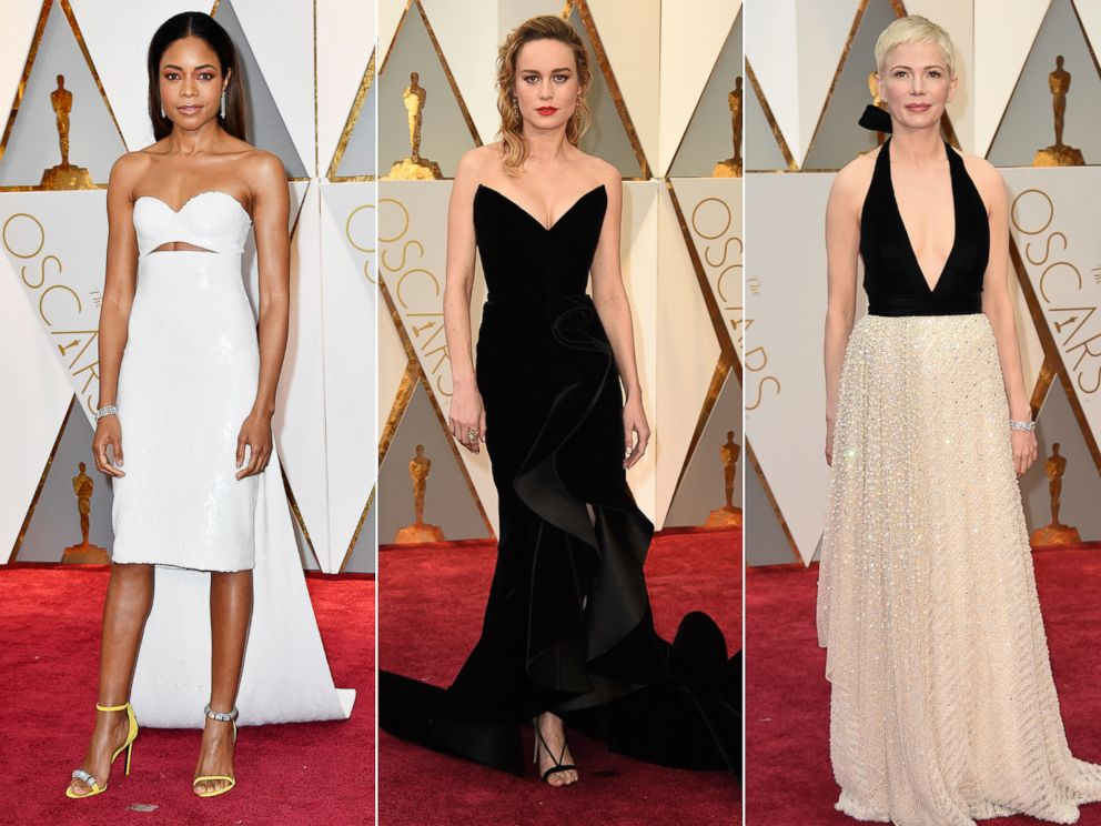PHOTO: (L-R) Naomie Harris, Brie Larson and Michelle Williams arrive at the Oscars, Feb. 26, 2017, at the Dolby Theater in Los Angeles.