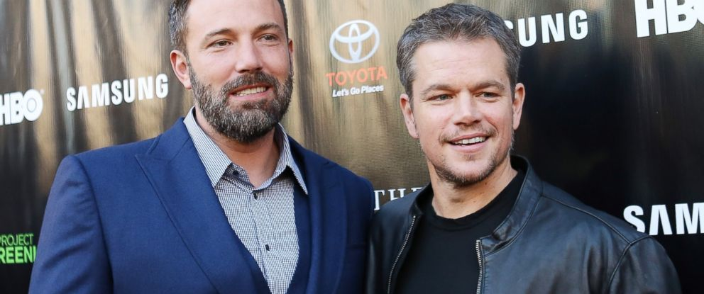 "PHOTO: Ben Affleck (L) and Matt Damon arrive at HBO presents The Project Greenlight season 4 winning film ""The Leisure Class"" held at The Theatre at The Ace Hotel, on Aug. 10, 2015, in Los Angeles."