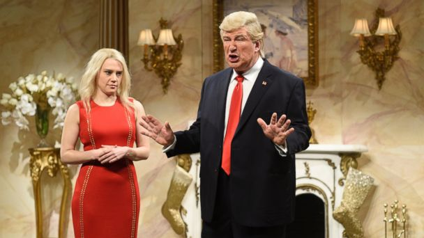PHOTO: Kate McKinnon as Kellyanne Conway and Alec Baldwin as Donald Trump during the