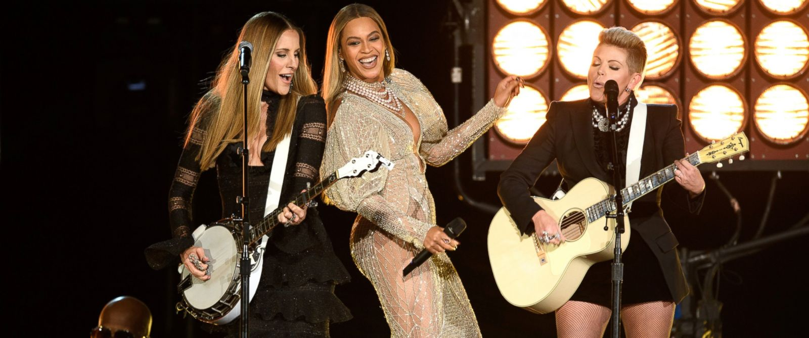 PHOTO: Emily Robison, Beyonce and Natalie Maines at The 50th Annual CMA Awards broadcast live from the Bridgestone Arena in Nashville, November 2, 2016.