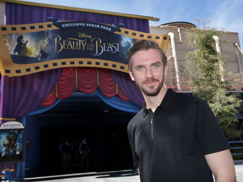 PHOTO: In this handout photo provided by Disney Parks, Beauty and the Beast star Dan Stevens visits the films sneak peek experience at Disney California Adventure park, on March 3, 2017, in Anaheim, Calif.