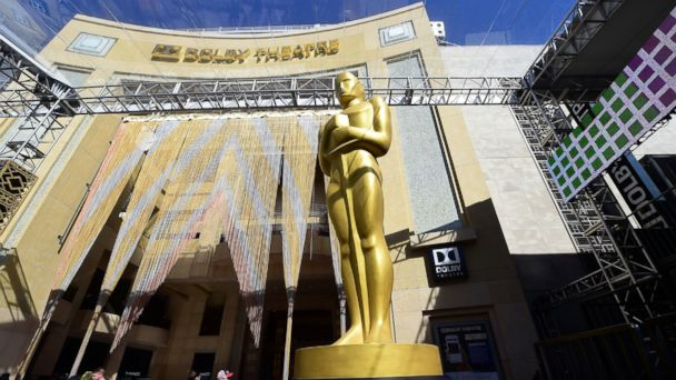 PHOTO: A large statue of the Oscar stands in front of the Dolby Theater, on Feb. 24, 2016, in Hollywood, Calif.
