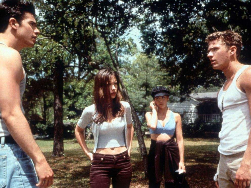PHOTO: Freddie Prinze Jr. has a confrontation with a man as Jennifer Love Hewitt watches in a scene from the film I Still Know What You Did Last Summer, 1998.