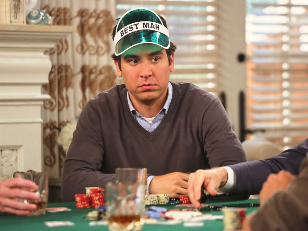PHOTO: Barney (Neil Patrick Harris) takes his frustrations out on Ted (Josh Radnor) during the best man poker game, on the final season of How I Met Your Mother, on the CBS Television Network.