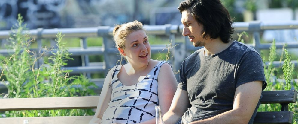 """PHOTO: Lena Dunham and Adam Driver seen on the set of """"Girls"""" on Adam Drivers final day, on July 21, 2016, in New York City."""