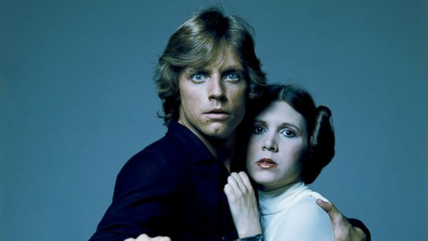 PHOTO: American actors Mark Hamill and Carrie Fisher in costume as brother and sister Luke Skywalker and Princess Leia in George Lucas' Star Wars trilogy in this 1977 file photo.