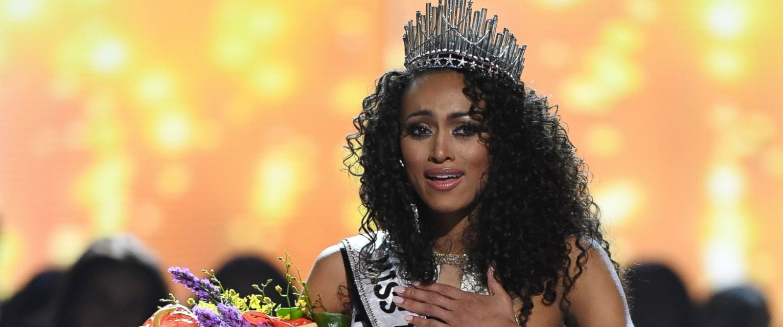 PHOTO: Miss District of Columbia USA 2016 Kara McCullough reacts after being crowned Miss USA 2017 during the Miss USA pageant at the Mandalay Bay Events Center, May 14, 2017, in Las Vegas.