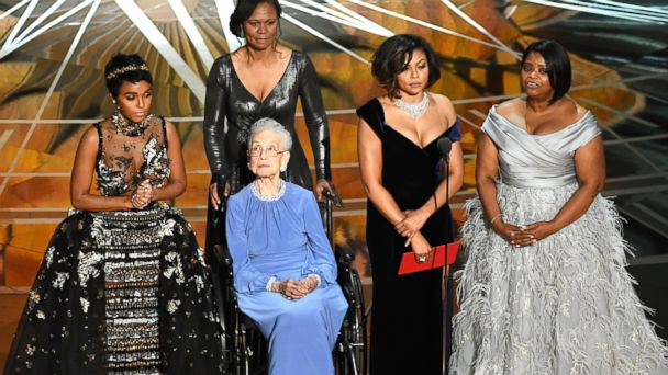 PHOTO: NASA mathematician Katherine Johnson (2nd L) appears onstage with (L-R) actors Janelle Monae, Taraji P. Henson and Octavia Spencer during the 89th Annual Academy Awards at Hollywood & Highland Center, on Feb. 26, 2017, in Hollywood, Calif.