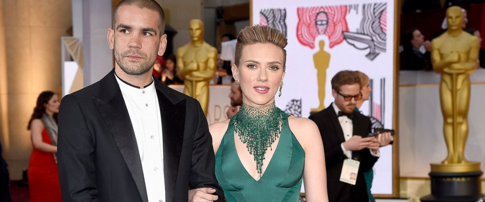 PHOTO: Actress Scarlett Johansson and Romain Dauriac attend the 87th Annual Academy Awards at Hollywood & Highland Center, on Feb. 22, 2015, in Hollywood, Calif.