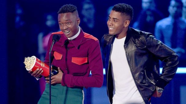 PHOTO: Actors Ashton Sanders and Jharrel Jerome accept Best Kiss for 'Moonlight' onstage during the 2017 MTV Movie And TV Awards at The Shrine Auditorium on May 7, 2017 in Los Angeles, Calif.
