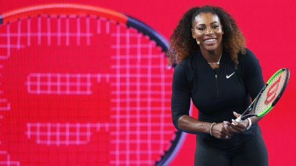 PHOTO: Serena Williams of the USA reacts during a Wilson Racquet promotion during a practice session ahead of the 2017 Australian Open at Melbourne Park, on Jan. 12, 2017, in Melbourne, Australia.