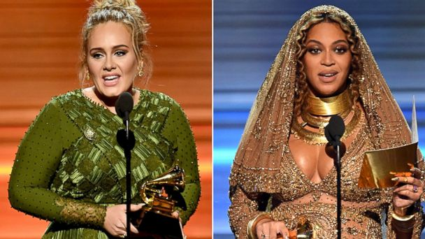 PHOTO: Adele, left, and Beyonce accept Grammy awards, Feb. 12, 2017, at the Staples Center in Los Angeles, California.