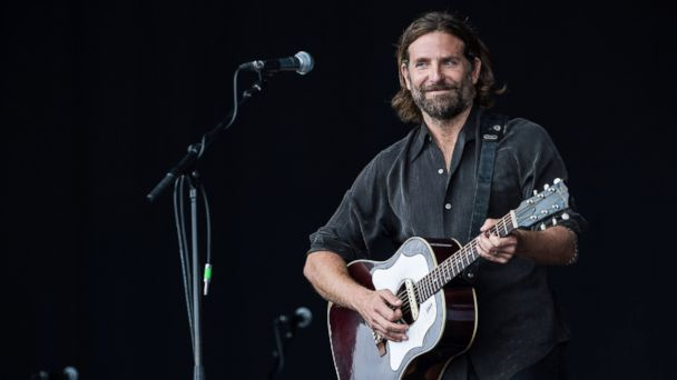 PHOTO: Bradley Cooper performs on the Pyramid stage to shoot footage for a film called