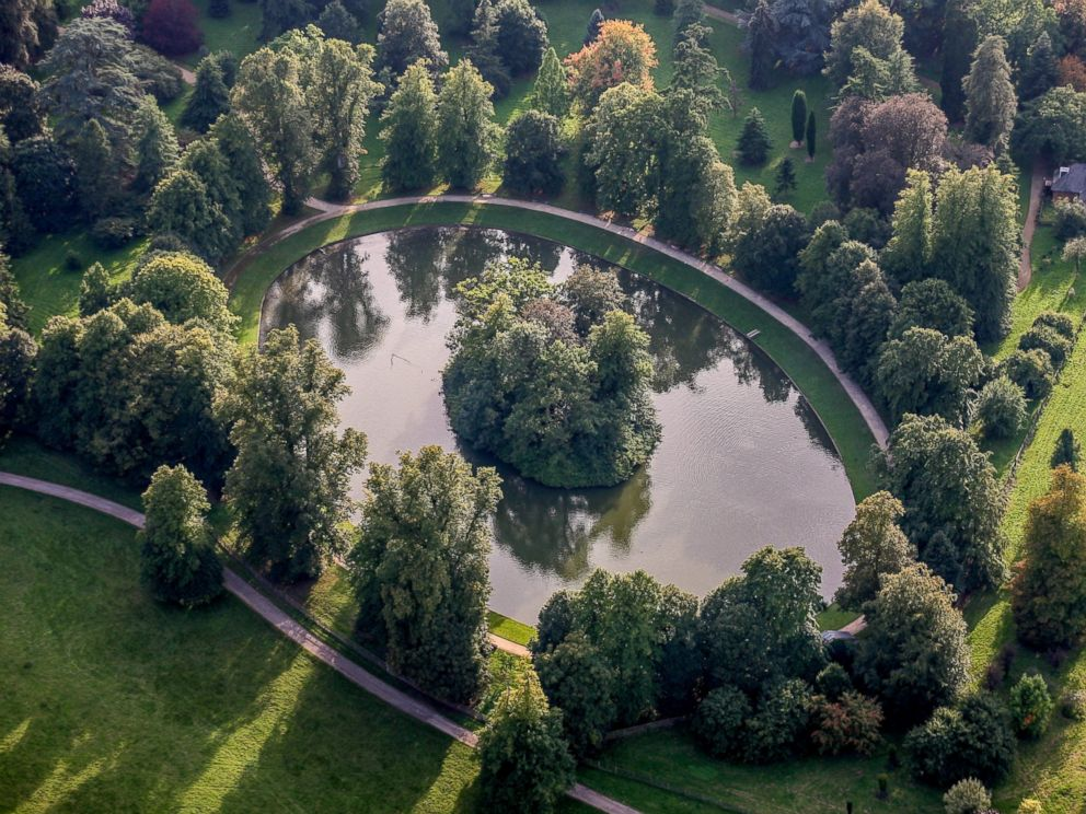 PHOTO: An aerial view of the burial site of Diana, Princess of Wales in this Sept. 9, 2006 file photo. The Round Oval lake is located in the Althorp Estate, home to Spencer family.