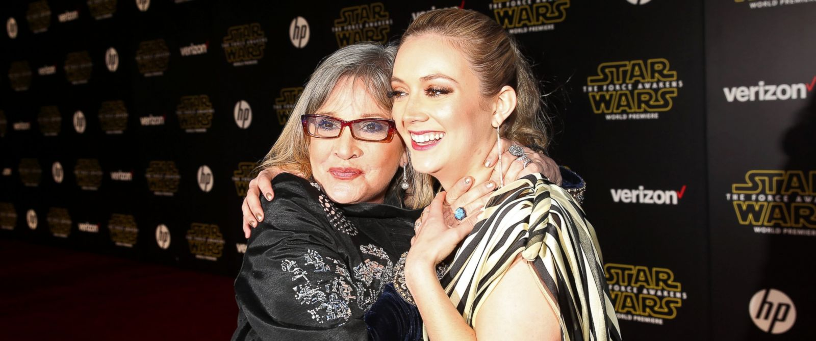 "PHOTO: Carrie Fisher (L) and Billie Lourd attend the World Premiere of ""?Star Wars: The Force Awakens""? at the Dolby, El Capitan, and TCL Theaters, Dec. 14, 2015 in Hollywood, California."