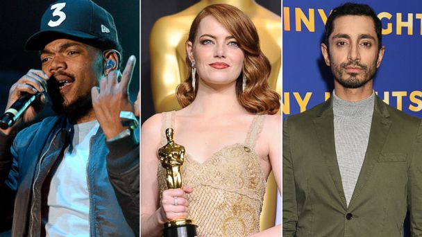 PHOTO: Chance the Rapper, left, Emma Stone and Riz Ahmed.