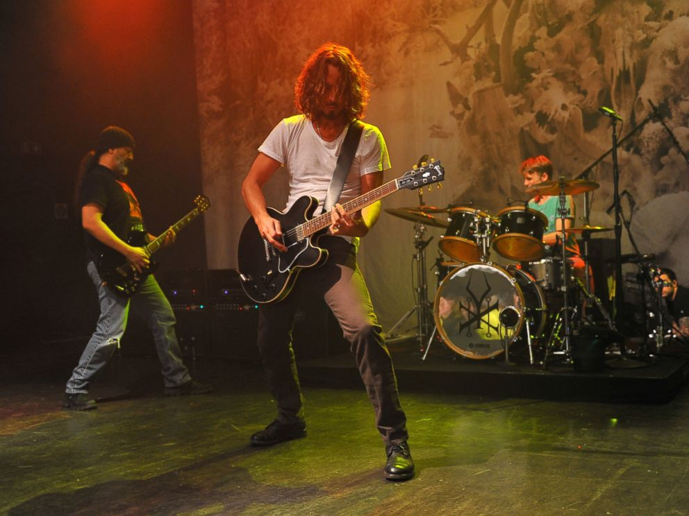 PHOTO: Kim Thayil, Chris Cornell and Matt Cameron of Soundgarden perform on stage at Shepherds Bush Empire, Nov. 9, 2012, in London.