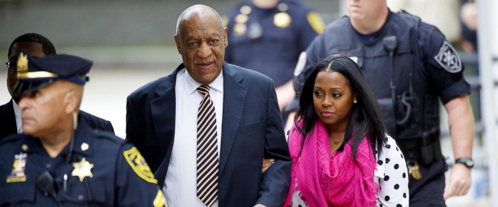 PHOTO: Bill Cosby arrives with actress Keshia Knight Pulliam, right, at the Montgomery County Courthouse before the opening of the sexual assault trail, June 5, 2017, in Norristown, Pa.