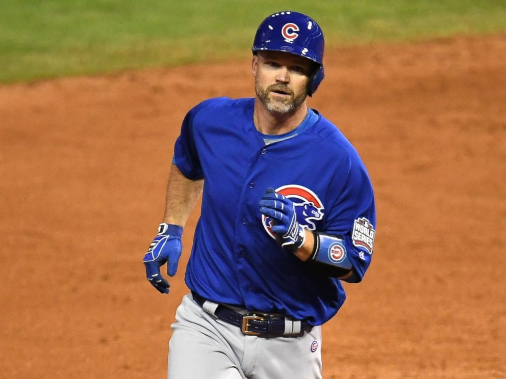 PHOTO: David Ross of the Chicago Cubs runs the bases at Game Seven of the 2016 World Series at Progressive Field, Nov. 2, 2016, in Cleveland, Ohio.