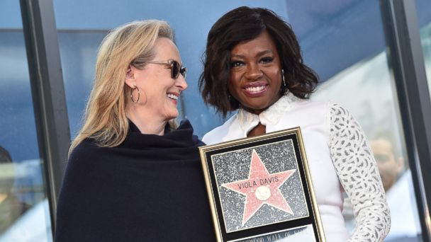 PHOTO: Meryl Streep and Viola Davis attend the ceremony honoring Viola Davis with star on the Hollywood Walk of Fame, Jan. 5, 2017, in Hollywood.