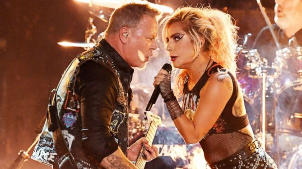 PHOTO: James Hetfield, left, of Metallica and Lady Gaga perform onstage during The 59th GRAMMY Awards at STAPLES Center, Feb. 12, 2017, in Los Angeles.