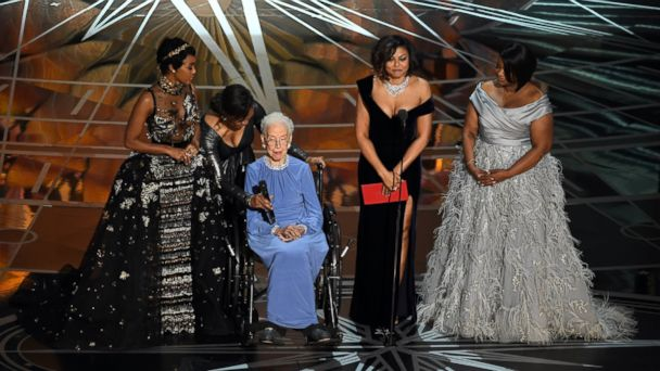 PHOTO: NASA mathematician Katherine Johnson appears onstage with actors, from left, Janelle Monae, Taraji P. Henson and Octavia Spencer onstage during the 89th Annual Academy Awards at Hollywood & Highland Center, Feb. 26, 2017, in Hollywood, Calif.