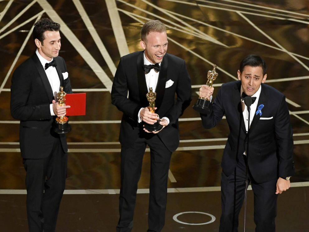 PHOTO: Songwriters Justin Hurwitz, Justin Paul and Benj Pasek accept Best Original Song for City of Stars from La La Land at the Academy Awards, Feb. 26, 2017 in Hollywood, Calif.