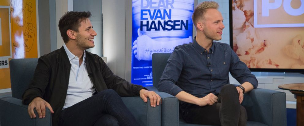 """PHOTO: Benj Pasik and Justin Paul appear on an episode of ABC News """"Popcorn with Peter Travers."""""""