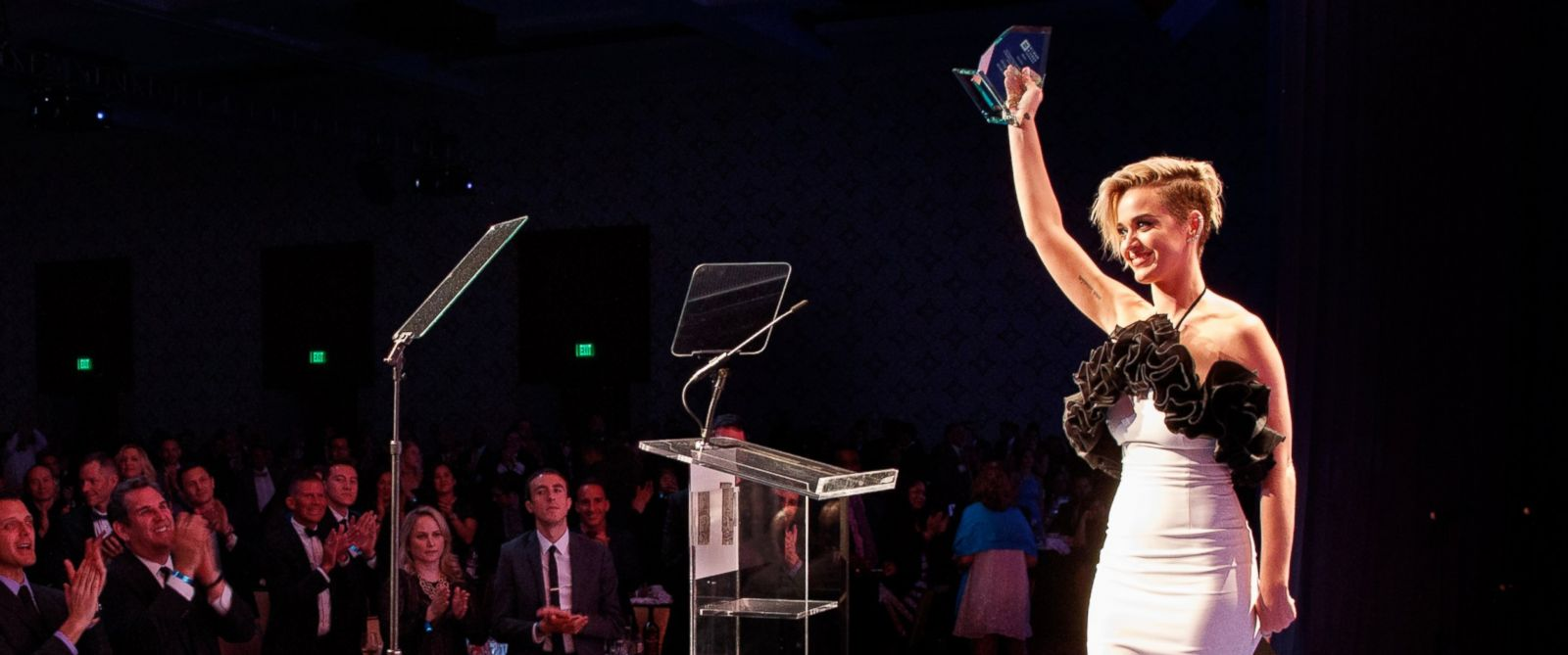 PHOTO: Honoree Katy Perry accepts the HRC National Equality Award onstage at The Human Rights Campaign 2017 Los Angeles Gala Dinner at JW Marriott Los Angeles at L.A. LIVE on March 18, 2017 in Los Angeles.