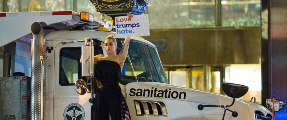 PHOTO: Lady Gaga stages a protest against Republican presidential nominee Donald Trump on a sanitation truck outside Trump Tower in New York City after midnight on election day Nov. 9, 2016.