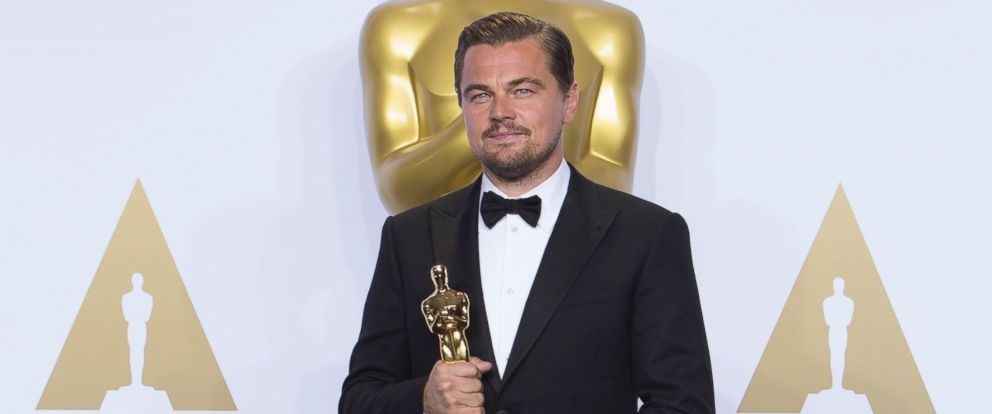 "PHOTO: Leonardo DiCaprio is pictured with his award for Best Performance by an Actor in a Leading Role in ""The Revenant"" during the 88th Annual Academy Awards in Hollywood, California, Feb. 28, 2016."