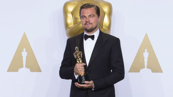 PHOTO: Leonardo DiCaprio is pictured with his award for Best Performance by an Actor in a Leading Role in