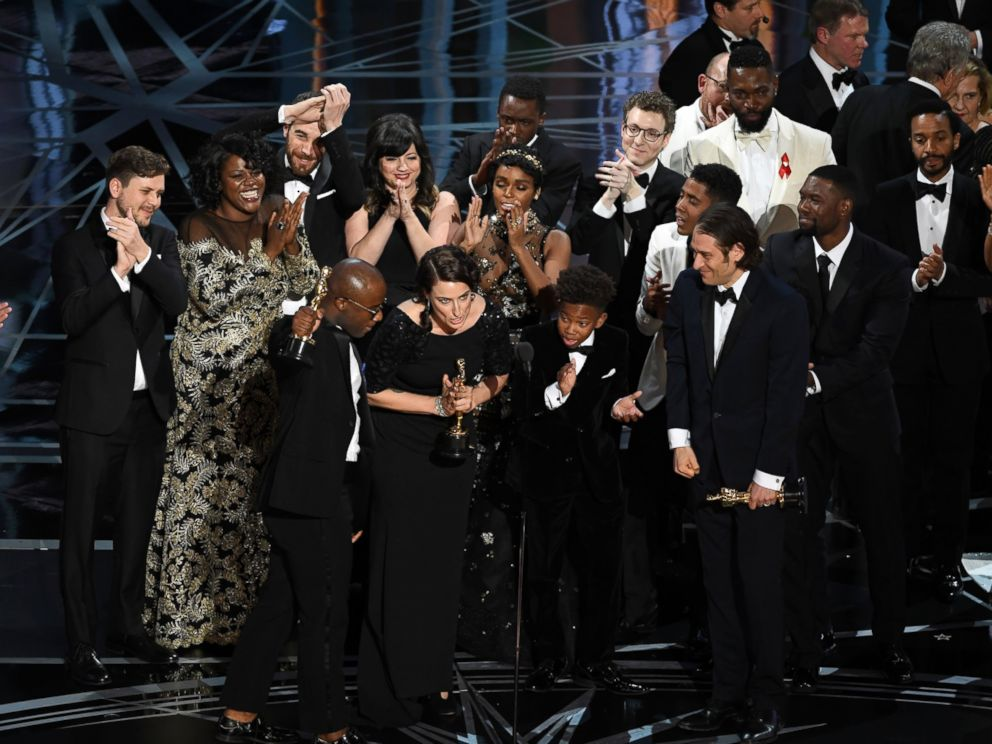 PHOTO: Cast and crew of Moonlight accept the Best Picture award onstage during the 89th Annual Academy Awards, Feb. 26, 2017, in Hollywood, Calif.