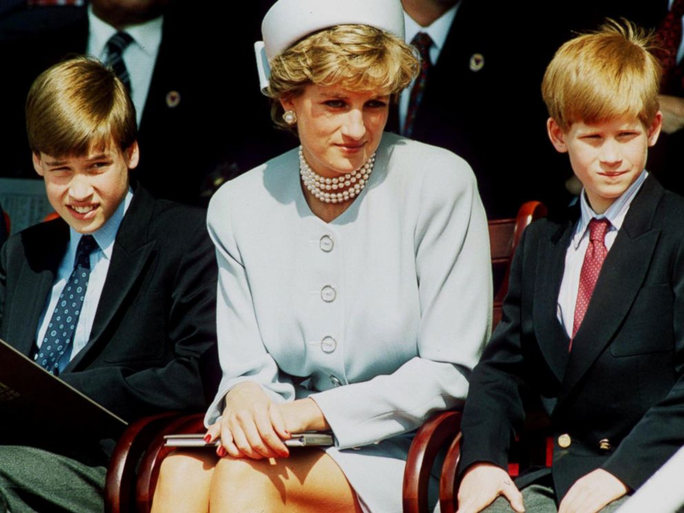 PHOTO: Princess Diana, Princess of Wales and her sons Prince William and Prince Harry attend the Heads of State VE Remembrance Service in Hyde Park, May 7, 1995 in London, England.