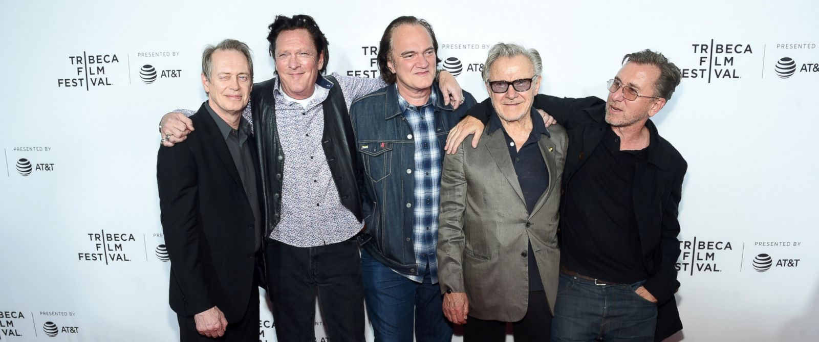 "PHOTO: Steve Buscemi, Michael Madsen, Quentin Tarantino, Harvey Keitel and Tim Roth attend the ""Reservoir Dogs"" Screening during 2017 Tribeca Film Festival, April 28, 2017 in New York City."