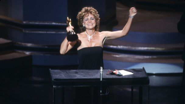PHOTO: Sally Field accepts the best actress Oscar for her role in