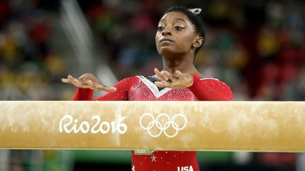 PHOTO: Simone Biles of the United States prepares to compete in the Balance Beam Final on day 10 of the Rio 2016 Olympic Games at Rio Olympic Arena, Aug. 15, 2016, in Rio de Janeiro, Brazil.