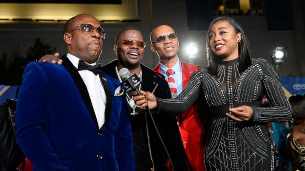 PHOTO: From left, recording artists Michael Bivins, Ricky Bell, Ronnie DeVoe of Bell Biv DeVoe and New Edition and tv personality Kela Walker attend the 2016 Soul Train Music Awards at the Orleans Arena, Nov. 6, 2016 in Las Vegas, Nevada.