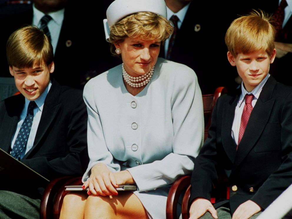 PHOTO: Princess Diana, Princess of Wales with her sons Prince William and Prince Harry attend the Heads of State VE Remembrance Service in Hyde Park in this May 7, 1995 file photo in London.