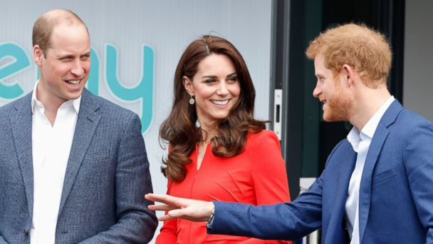 PHOTO: Prince William, Duke of Cambridge, Catherine, Duchess of Cambridge and Prince Harry attend the official opening of The Global Academy in support of Heads Together, April 20, 2017, in Hayes, England.