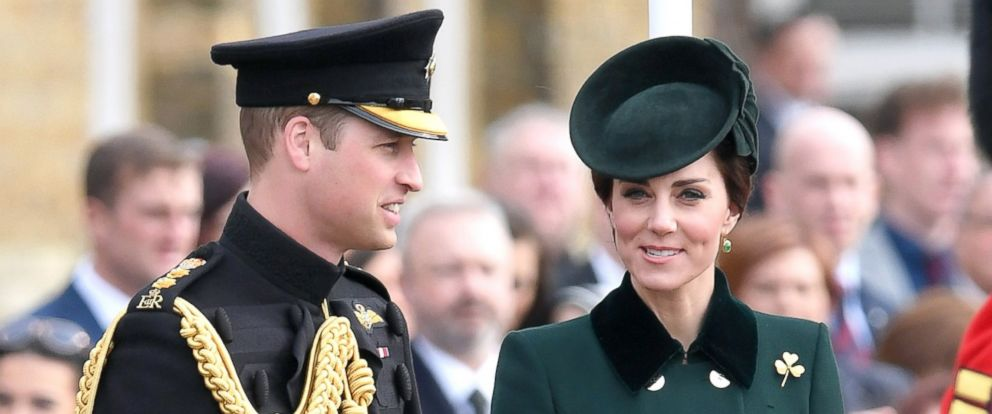 PHOTO: Catherine, Duchess of Cambridge and Prince William, Duke Of Cambridge presents the 1st Battalion Irish Guardsmen with shamrocks during the annual Irish Guards St Patricks Day Parade at Household Cavalry Barracks, March 17, 2017, in London.