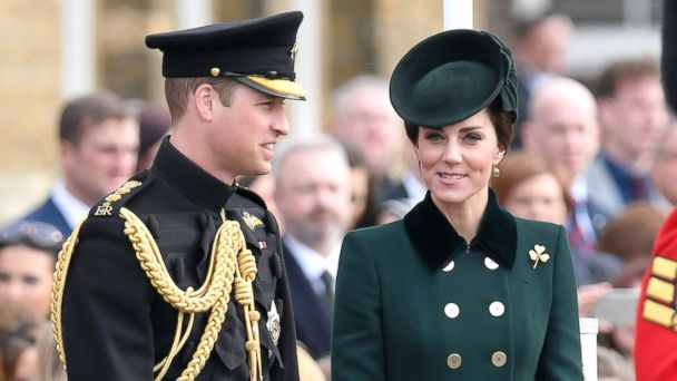 PHOTO: Catherine, Duchess of Cambridge and Prince William, Duke Of Cambridge presents the 1st Battalion Irish Guardsmen with shamrocks during the annual Irish Guards St Patrick's Day Parade at Household Cavalry Barracks, March 17, 2017, in London.