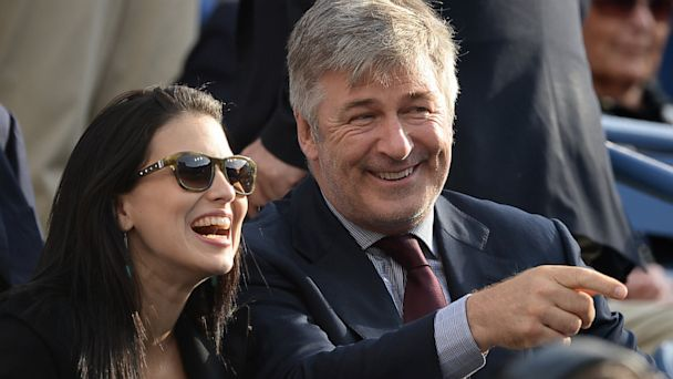 Alec Baldwin and Hilaria Thomas Baldwin attend the 2013 US Open at USTA Billie Jean King National Tennis Center, Sept. 9, 2013 in New York.
