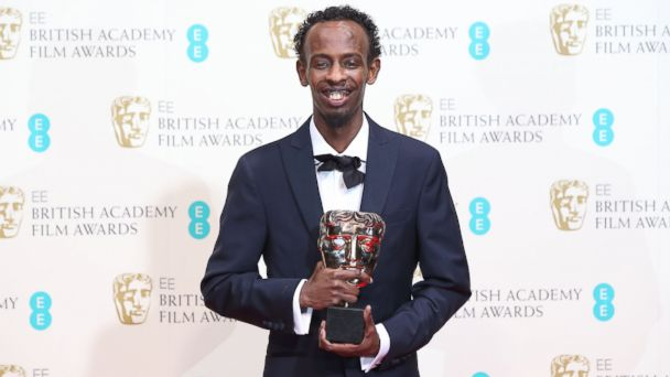 PHOTO: Barkhad Abdi poses in the winners room at the EE British Academy Film Awards 2014 at The Royal Opera House on Feb. 16, 2014.