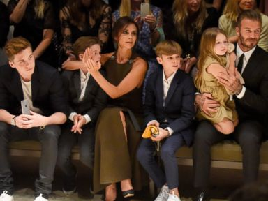 PHOTO: Brooklyn Beckham, Cruz Beckham, Victoria Beckham, Romeo Beckham, Harper Beckham and David Beckham attend the Burberry London in Los Angeles event at Griffith Observatory in this April 16, 2015 file photo in Los Angeles.