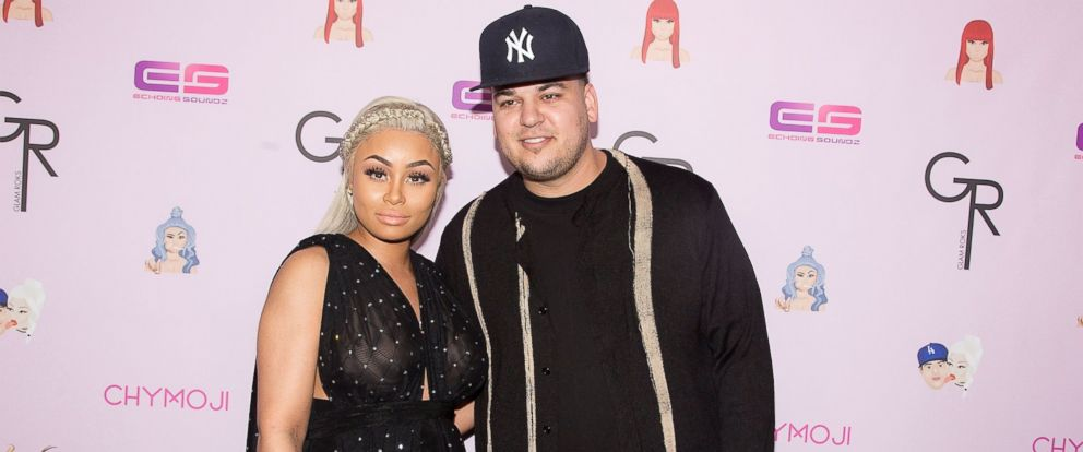 "PHOTO: Blac Chyna and Rob Kardashian arrive for her Blac Chynas birthday celebration and unveiling of her ""Chymoji"" Emoji Collection at Hard Rock Cafe, on May 10, 2016, in Hollywood, Calif."