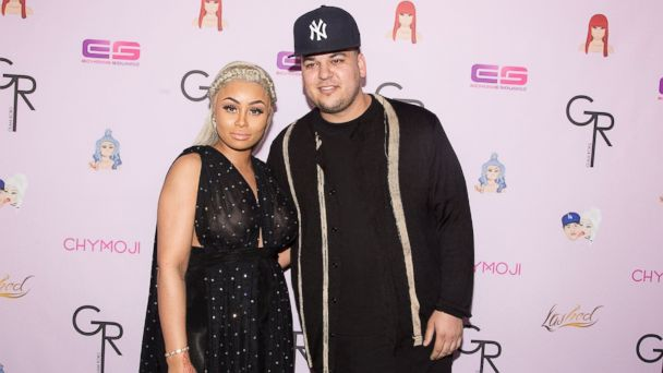 PHOTO: Blac Chyna (L) and Rob Kardashian arrive for her Blac Chyna's birthday celebration and unveiling of her